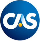 CAS logo - blue circle with white letters in the center