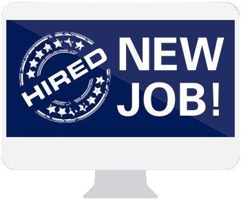 computer screen graphic says 'new job'